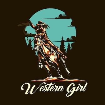 Ilustração de menina ocidental com cor sólida