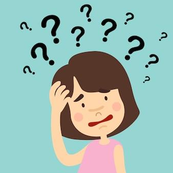 Ilustração de menina pensando com pontos de interrogação