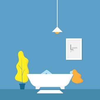Ilustração, de, menina, relaxante, em, banheira, em, banheiro, vetorial, ilustração