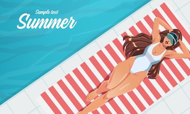 Ilustração de menina tomando banho de sol em uma toalha perto da piscina