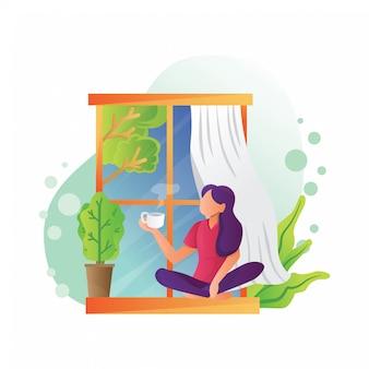 Ilustração de menina tomando café em uma janela