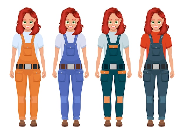 Ilustração de menina trabalhadora isolada no branco