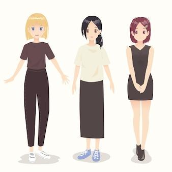 Ilustração de meninas de personagens de anime