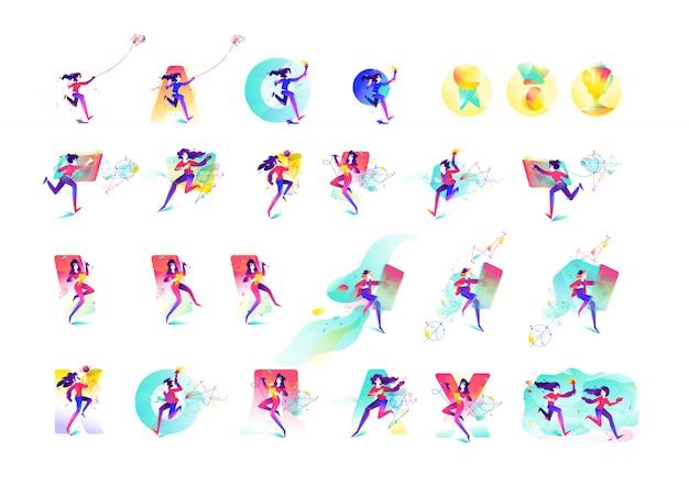 Ilustração de meninas e meninos.