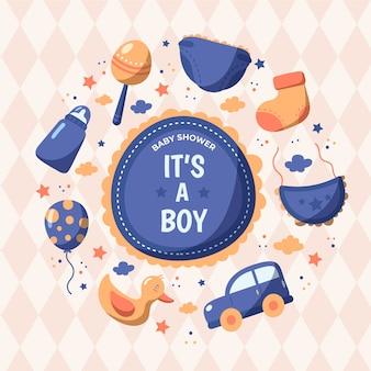 Ilustração de menino bebê chuveiro