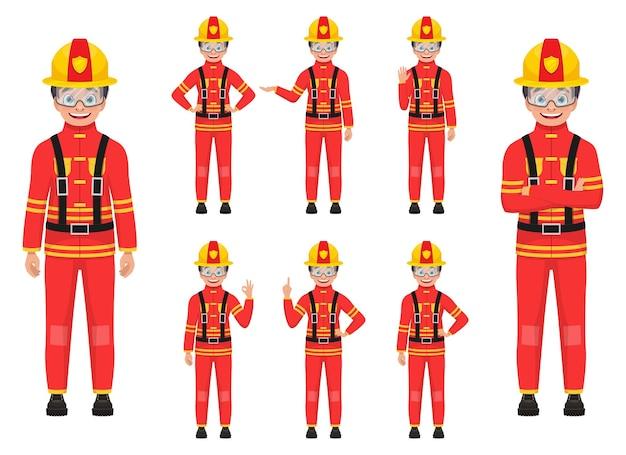 Ilustração de menino bombeiro isolada no branco