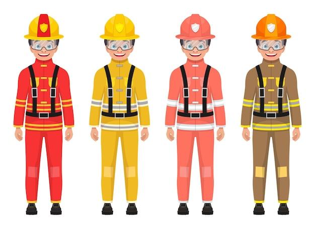 Ilustração de menino bombeiro isolada no branco Vetor Premium