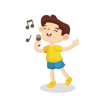 Ilustração de menino bonito, cantando com cara feliz no estilo dos desenhos animados