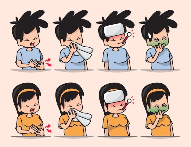 Ilustração de menino bonito e menina doente mal-estar, dor de cabeça, resfriado, gripe sazonal, tosse e coriza