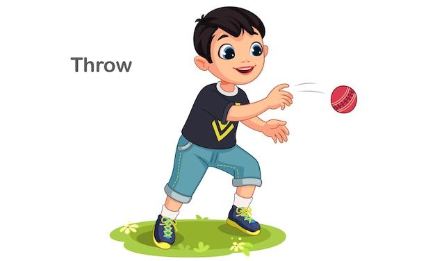 Ilustração de menino bonito jogando uma bola