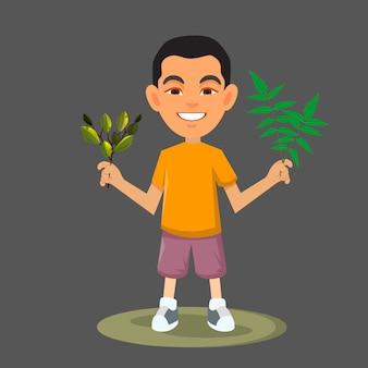 Ilustração de menino bonito