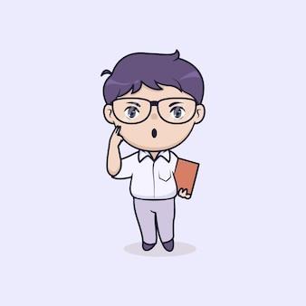 Ilustração de menino de estudante usando óculos
