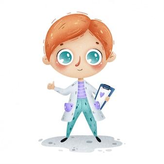 Ilustração de menino de médico bonito dos desenhos animados no jaleco branco