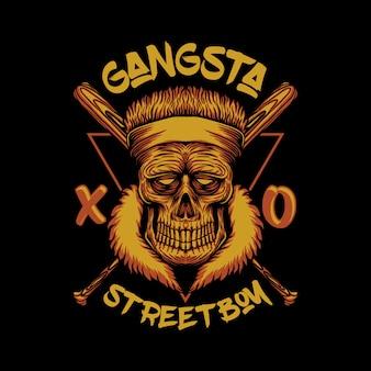 Ilustração de menino de rua gangsta caveira