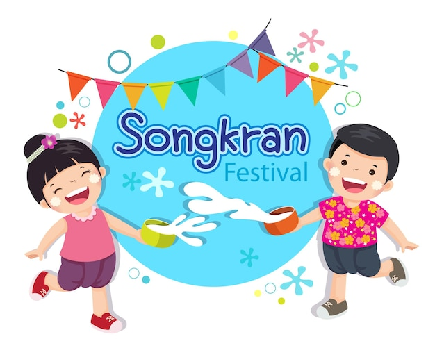 Ilustração de menino e menina curtindo espirrar água no festival songkran