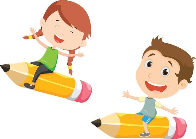 Ilustração de menino e menina voando em um lápis
