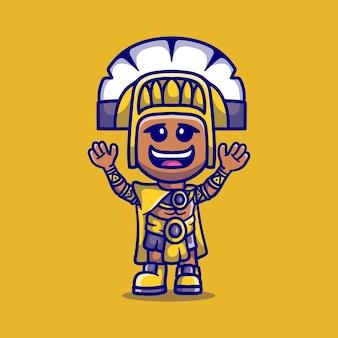 Ilustração de menino fofo vestindo roupas inca
