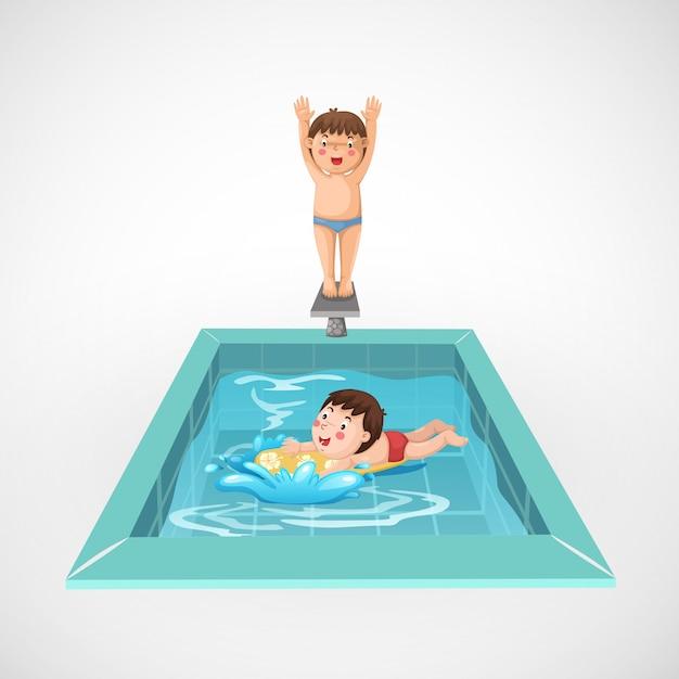 Ilustração de menino isolado e uma piscina
