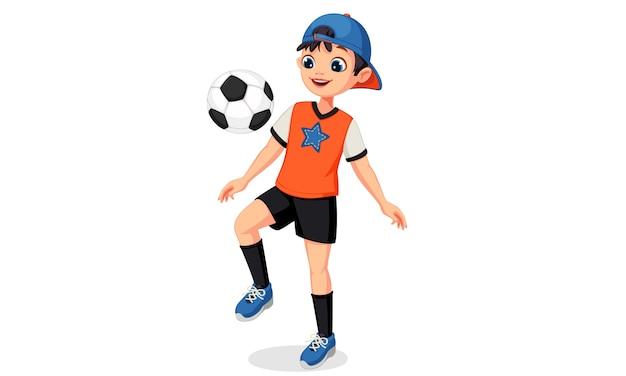 Ilustração de menino jovem jogador de futebol