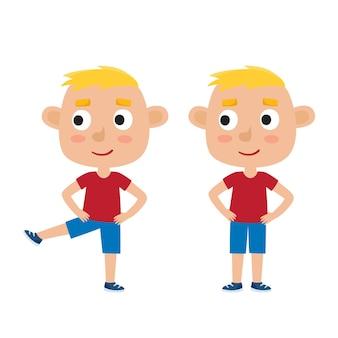 Ilustração de menino loiro em pose de exercício isolado no branco, perna levantada, pés separados na largura dos ombros, mãos nos quadris