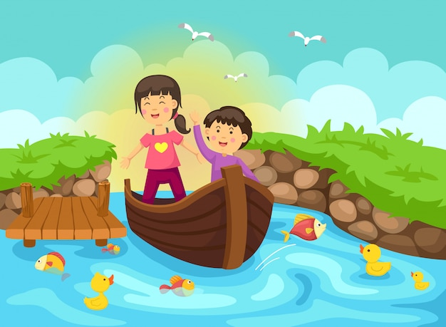 Ilustração, de, menino menina, em, bote, para, rio