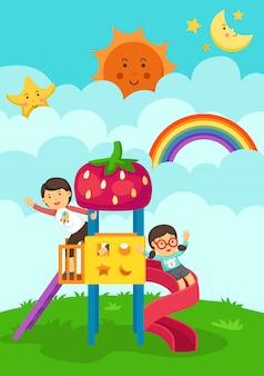 Ilustração, de, menino menina, tocando, em, a, pátio recreio
