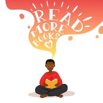Ilustração de menino sentado e lendo livro, sonhando.