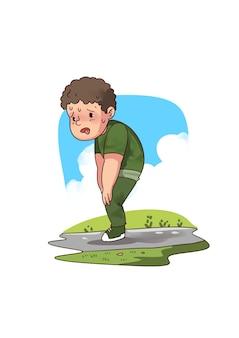 Ilustração de menino suando arfando
