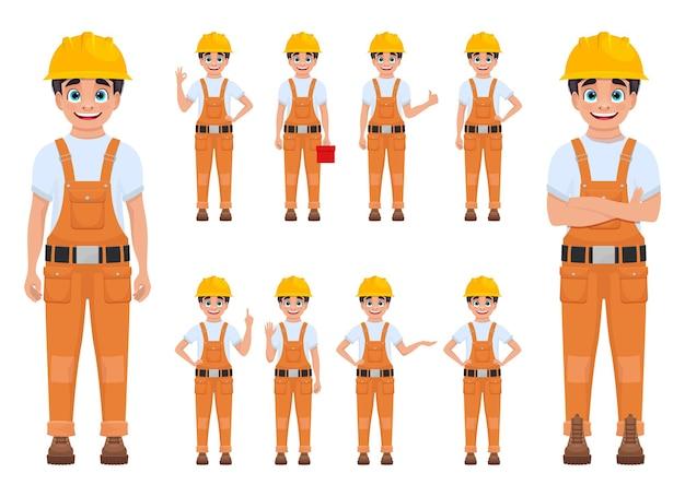 Ilustração de menino trabalhador isolada no branco