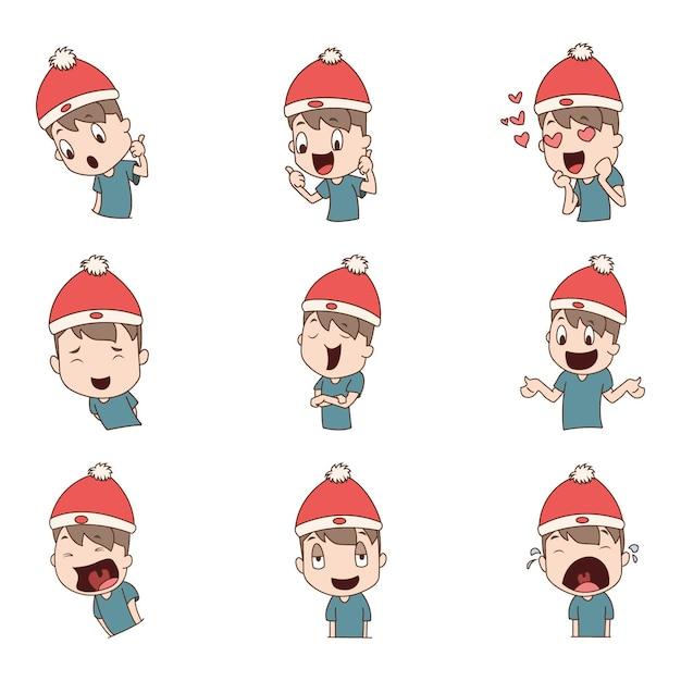 Ilustração de menino vestindo boné de natal com conjunto de adesivos