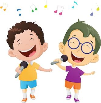 Ilustração de meninos cantando felizes