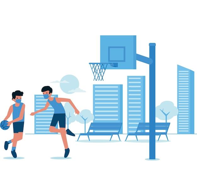 Ilustração de meninos jogando basquete