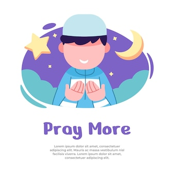 Ilustração de meninos orando mais durante o mês de ramadã