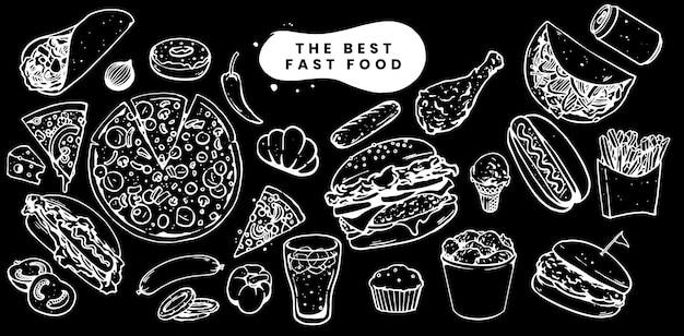 Ilustração de menu definido de fast-food