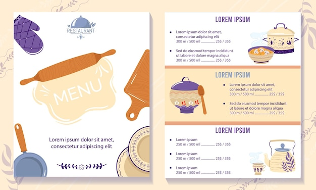 Ilustração de menu do café de cozinha russa.