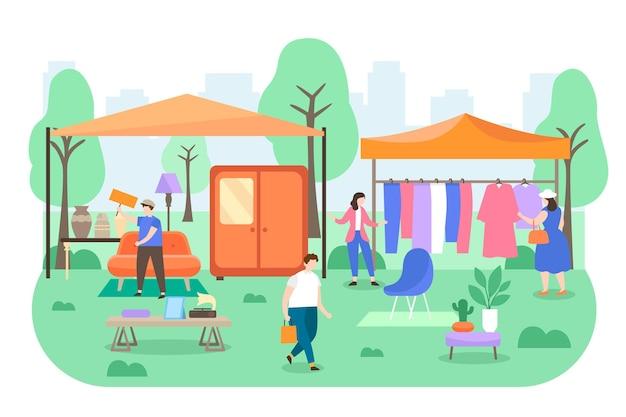 Ilustração de mercado de pulgas desenhada à mão plana com pessoas