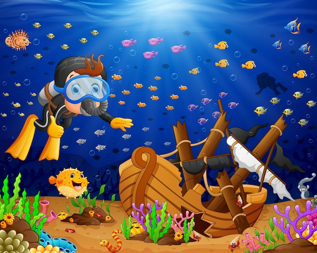 Ilustração, de, mergulhador, sob, a, mar