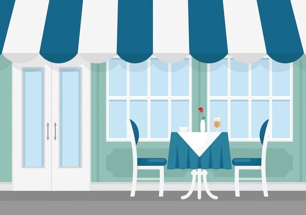 Ilustração de mesa e cadeiras de café de rua pequena com toldo listrado, exterior do café em estilo cartoon.