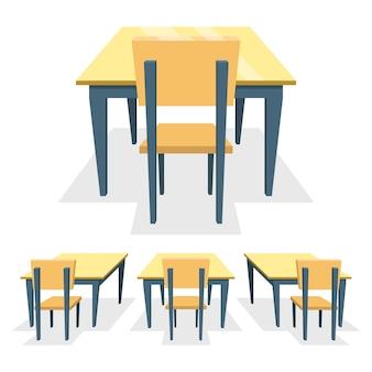 Ilustração de mesa escolar isolada no branco