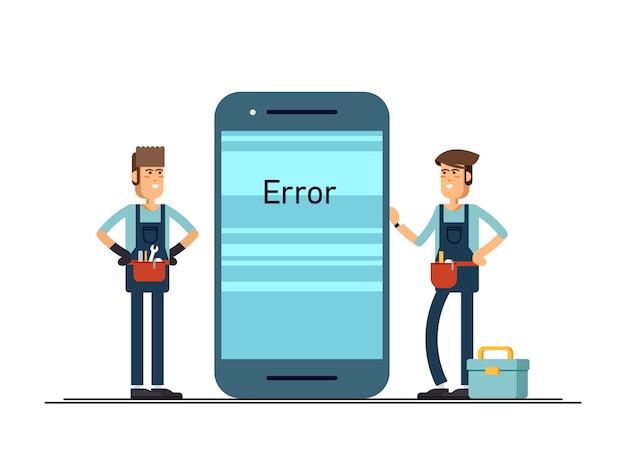 Ilustração de mestres masculinos que consertam o celular quebrado.
