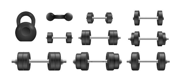 Ilustração de metal 3d preto com haltere isolado
