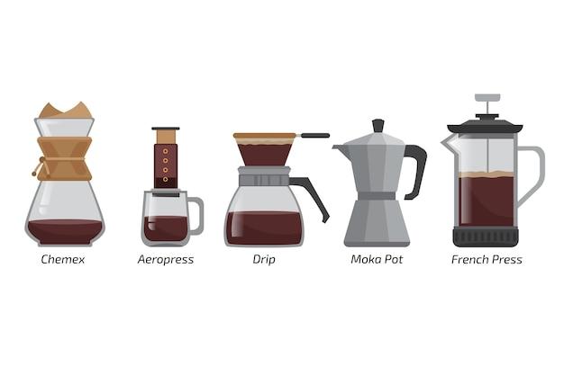 Ilustração de métodos de fabricação de café