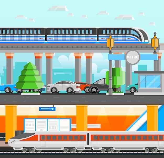 Ilustração de metrô subterrâneo