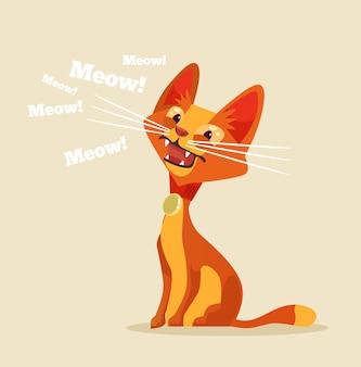 Ilustração de miau de personagem de gato fofo