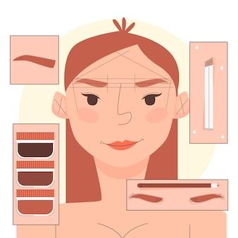 Ilustração de microblading desenhada à mão plana com mulher