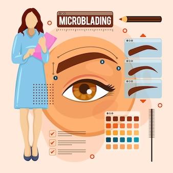 Ilustração de microblading desenhada à mão plana