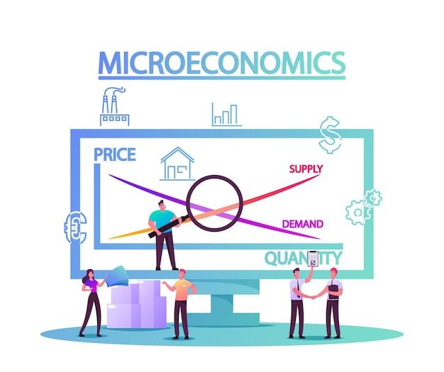 Ilustração de microeconomia com personagens minúsculos analisando estatísticas de aumento de lucro em dinheiro