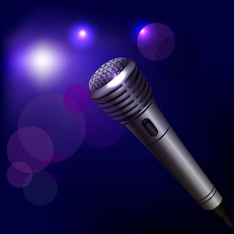 Ilustração de microfone no escuro