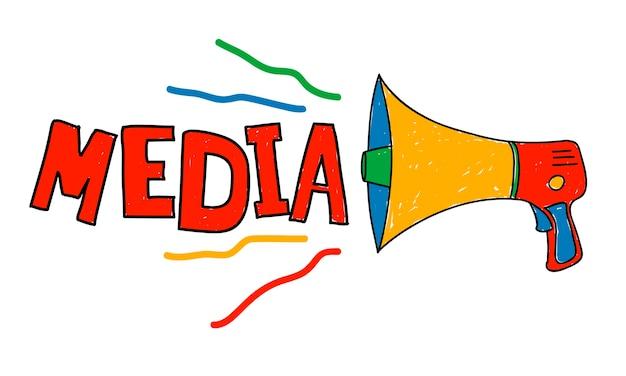Ilustração, de, mídia, conceito