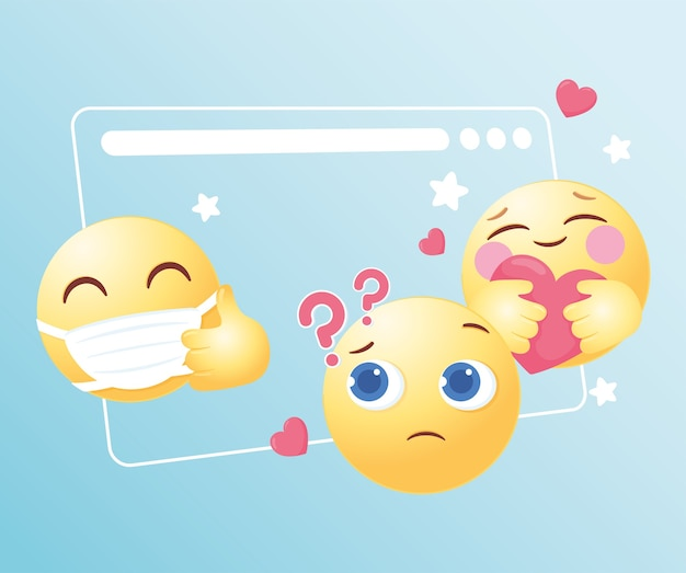 Ilustração de mídia social com reações emoji emoticons engraçados